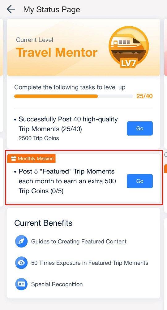New Trip Moments Community User Levels