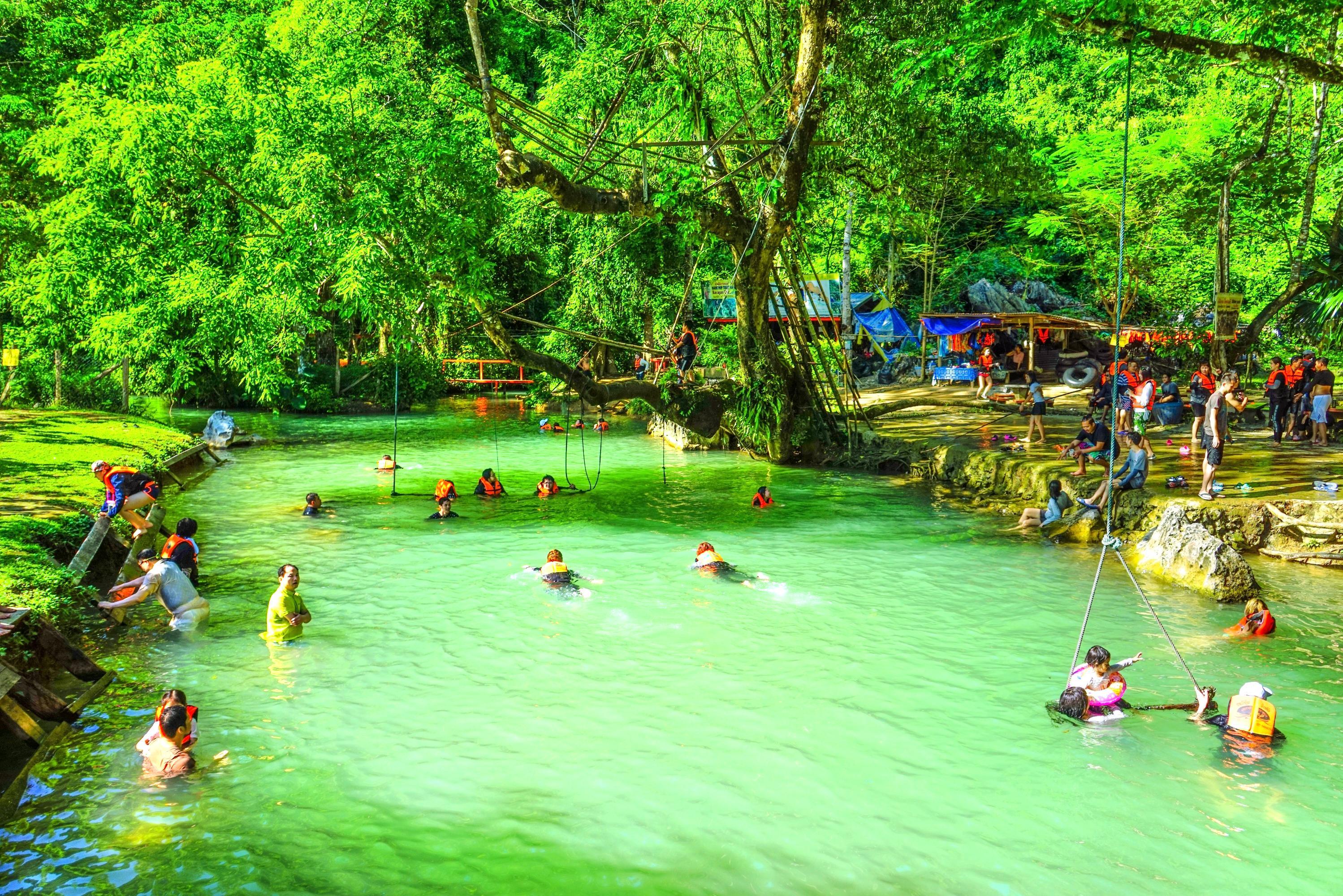 Tham Phu Kham Cave and Blue Lagoon