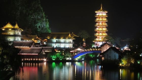 Guilin Four Lakes Night Cruise with English Speaking Driver from Guilin Hotel