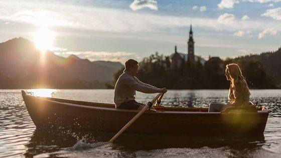 Rent a traditional wooden boat on lake Bled