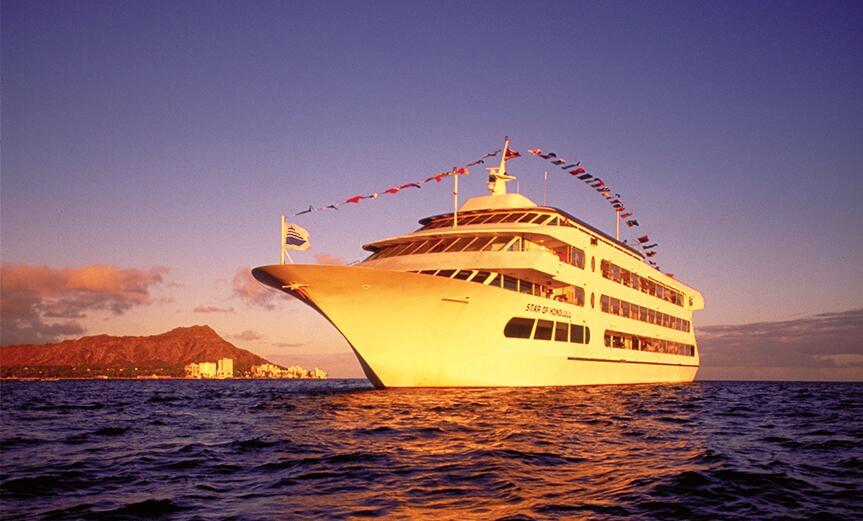 """美國夏威夷""""火奴魯魯之星""""晚宴巡航一日遊(船票+接送+多套餐晚餐可選)"""