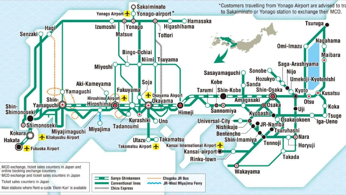 Japan's Sanyo & Sanin JR PASS 7 Day Pass