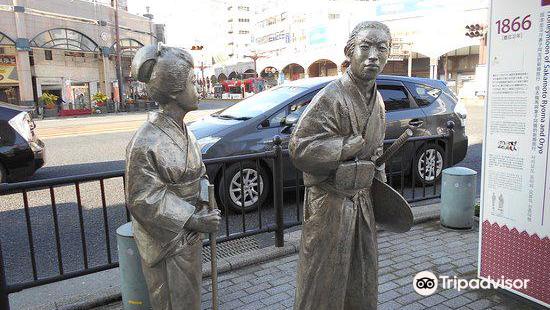 Ryoma, Oryo to Satsuma de Hitoyasumi Statue